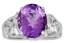 Lord & Taylor Diamond, Amethyst and Sterling Silver Ring