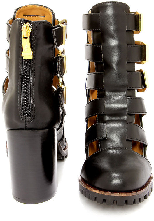 Report Signature Ashtin Black Caged Ankle Boots