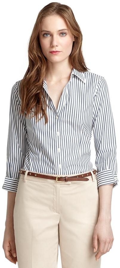 Brooks Brothers Non-Iron Fitted Three-Quarter Sleeve Bengal Stripe Dress Shirt