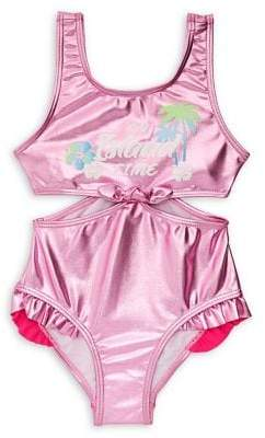 Flapdoodles Little Girl's One-Piece Metallic Swimsuit