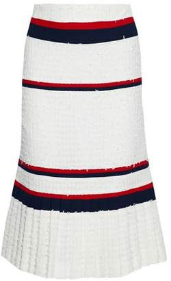 Thom Browne Striped Crepe-Paneled Frayed Pleated Tweed Skirt