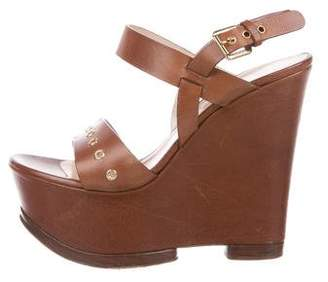 Casadei Leather Platform Wedges