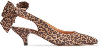 GANNI - Sabine Leopard-print Suede Slingback Pumps - Leopard print