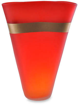 """Viz Glass 15"""" Gold-Banded Art Glass Vase - Red"""