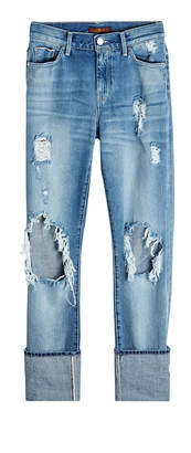 7 For All Mankind Distressed Jeans with Cuffed Ankles