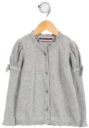 MonnaLisa Girls' Puffed Button-Up Cardigan