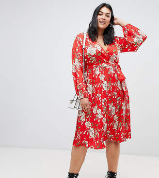 Asos Influence Plus mid floral dress with pleated skirt and tie waist