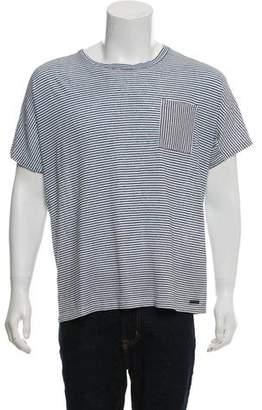 Burberry Linen-Blend Asymmetrical Striped T-Shirt