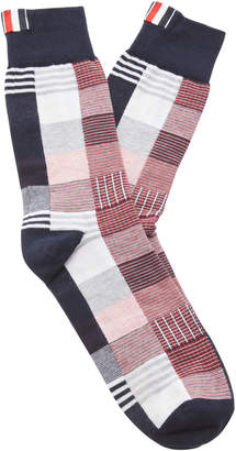 Thom Browne Checked Cotton-Blend Socks