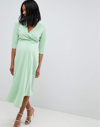 Asos DESIGN Maternity midi shirt dress with safety pin