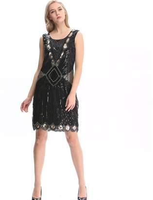 Co Pilot-trade clothing trade Pilot-Trade Women's 1920s Gatsby Sequin Art Deco Scalloped Hem Inspired Flapper Dress