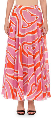 Emilio Pucci Printed Pull-On Maxi Skirt, Pink/Orange $1,220 thestylecure.com