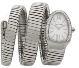 Bvlgari Serpenti Tubogas Stainless Steel& Diamond Double Twist Watch