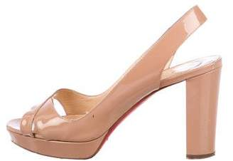 Christian Louboutin Patent Leather Peep-Toe Slingback Pumps