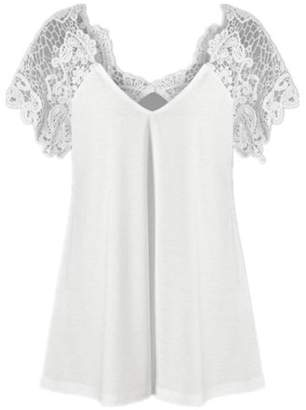YONYWA Women Lace Backless Solid Blouse Hollow Out Fashion Tops Tee