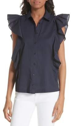 Kate Spade flutter sleeve button down cotton blouse