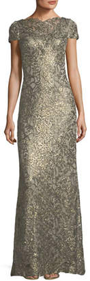 Tadashi Shoji Short-Sleeve Metallic V-Back Evening Gown