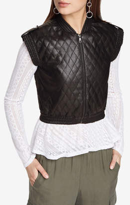 BCBGMAXAZRIA Ace Quilted Faux-Leather Vest