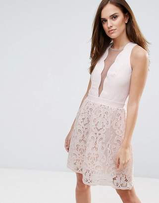 Little Mistress Scallop And Crochet Mini Dress