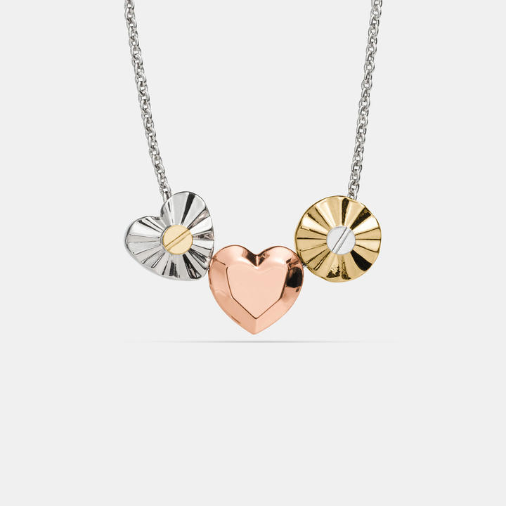 Coach   COACH Coach Short Daisy Rivet Heart Locket Necklace