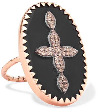 Pascale Monvoisin Bowie N°3 9-karat Rose Gold, Sterling Silver, Bakelite And Diamond Ring