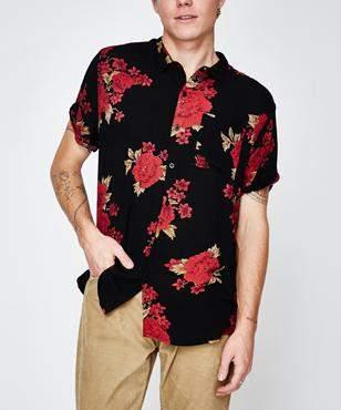 Rollas Beach Boy Shirt Night Flower Black