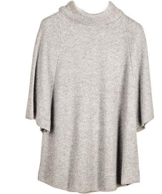 Black Grey Roll Neck Cashmere Sleeved Poncho