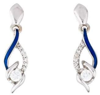 14K Diamond & Enamel Drop Earrings white 14K Diamond & Enamel Drop Earrings