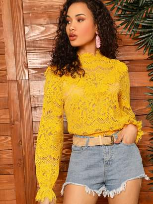 Shein Trumpet Sleeve Lace Top