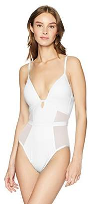 Kenneth Cole New York Women's V-Neck Push up Mesh One Piece Swimsuit