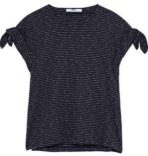 Derek Lam 10 Crosby Knotted Striped Cotton-jersey T-shirt