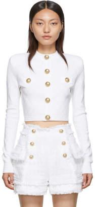 Balmain White Knit Buttoned Cardigan