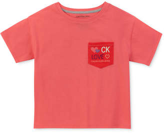 Calvin Klein Big Girls Embroidered Pocket Cotton T-Shirt