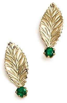 Bloomingdale's Emerald Leaf Earrings in 14K Yellow Gold - 100% Exclusive