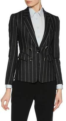 Giorgio Armani Faux Double-Breasted Striped Flannel Jacket