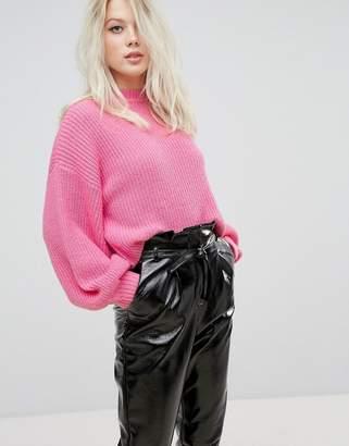Miss Selfridge Exclusive Balloon Sleeve Ribbed Sweater