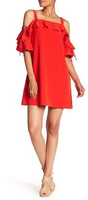 Laundry by Shelli Segal Ruffled Cold Shoulder Shift Dress