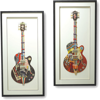 Twos Company Two's Company Set Of 2 Guitar Paper Collage Wall Art