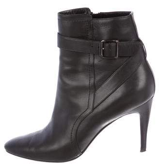 Manolo Blahnik Leather Pointed-Toe Ankle Boots