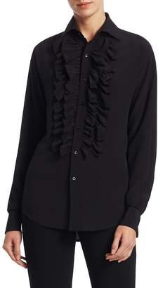 Ralph Lauren Women's Andrei Ruffle Front Silk Blouse