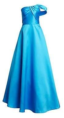 ML Monique Lhuillier Women's One-Shoulder Satin A-Line Gown