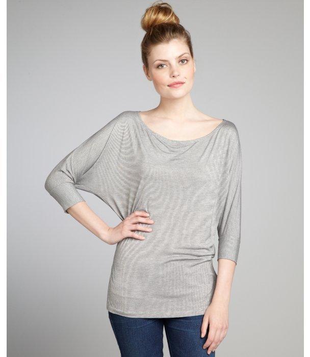 Rebecca Beeson black and white thin stripe stretch jersey dolman sleeve t-shirt