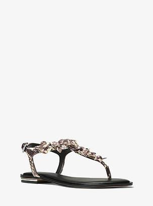 Michael Kors Tricia Floral Applique Snake-Embossed Leather Sandal