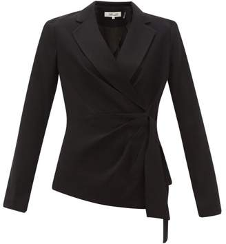 Diane von Furstenberg Lana Waist Tie Crepe Blazer - Womens - Black