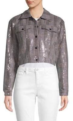 Bagatelle Embellished Cropped Herringbone Jacket