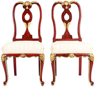 One Kings Lane Vintage Pair Wood Framed Gilt Chairs - La Maison Supreme