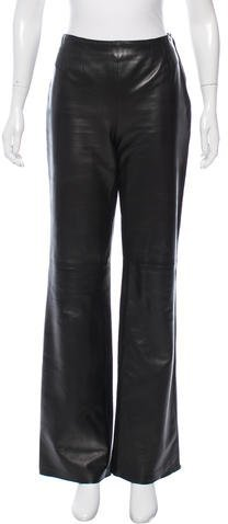 Chanel Chanel Leather Wide-Leg Pants