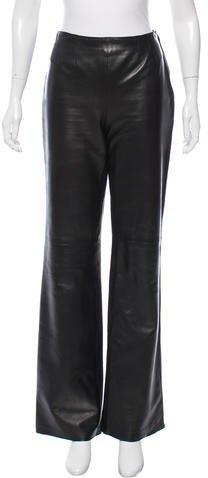 ChanelChanel Leather Wide-Leg Pants