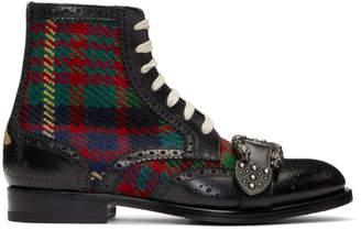 Gucci Black Tartan Queercore Boots