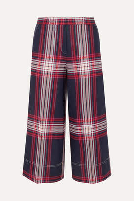 By Malene Birger Ilan Cropped Checked Linen And Cotton-blend Wide-leg Pants - Blue
